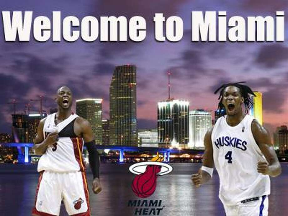 NBA free agents Dwyane Wade, left, and Chris Bosh will join forces in Miami as both are expected to sign with the Heat. (Jeremie Smith / Photo Illustration)