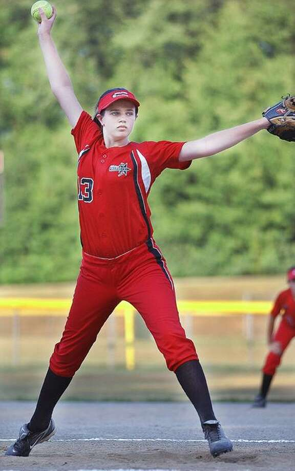 Middletown pitcher Olivia Sprague on the mound against Cromwell. (Catherine Avalone