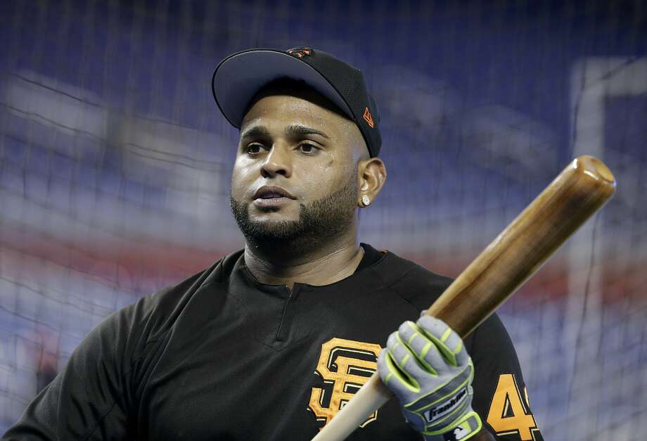 San Francisco Giants' Pablo Sandoval waits to hit during batting practice before a baseball game against the Miami Marlins, Tuesday, Aug. 15, 2017, in Miami. (AP Photo/Lynne Sladky) Photo: Lynne Sladky, Associated Press