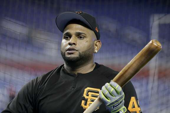 San Francisco Giants' Pablo Sandoval waits to hit during batting practice before a baseball game against the Miami Marlins, Tuesday, Aug. 15, 2017, in Miami. (AP Photo/Lynne Sladky)
