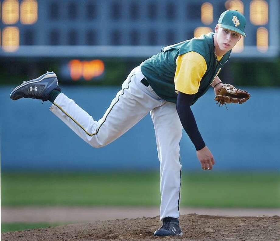 American Legion Post 105 RCP pitcher Corey Armstrong is seen on the mound against New Britain at Beehive Statdium in New Britain. Armstrong had a no-hitter going into the seventh inning of the game, but gave up a single with just two outs left. (Catherine Avalone