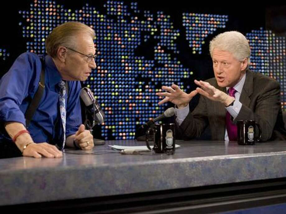 "FILE - In this April 19, 2007 file photo supplied by CNN, Larry King interviews former President Bill Clinton, right, on CNN's ""Larry King Live,"" in New York. After 25 years of ""Larry King Live,"" Larry King will hang up his suspenders with his last broadcast on Thursday, Dec. 16, 2010. (AP Photo/CNN, Jake A.Herrle) Photo: ASSOCIATED PRESS / AP2007"