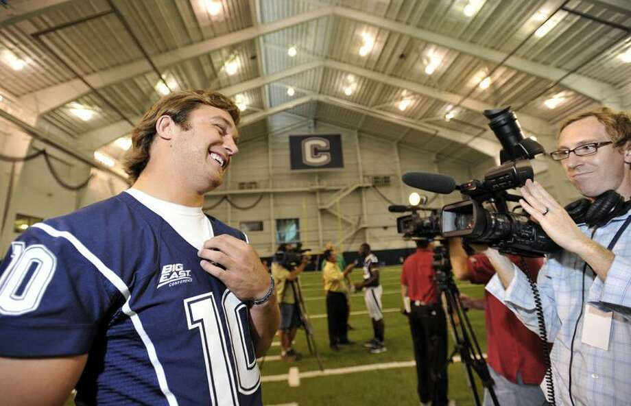 Connecticut quarterback Zach Frazer is interviewed during the NCAA college football team's media day in Storrs on Monday, Aug. 16. (AP Photo/Jessica Hill) Photo: AP / AP2010