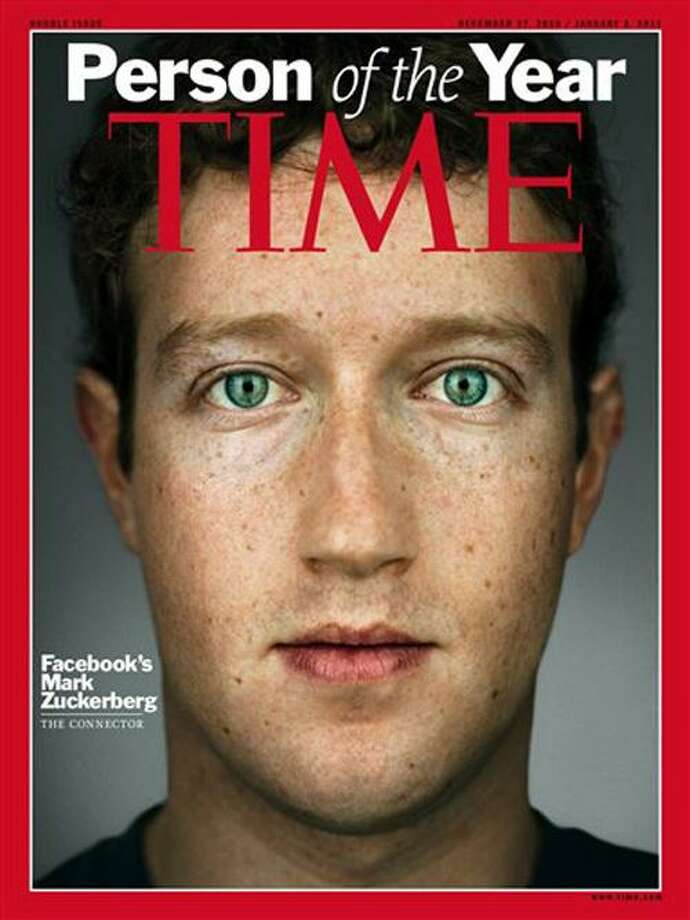 """This image released by Time Magazine, Wednesday, Dec. 15, 2010, shows the cover for Time magazine's 2010 """"Person of the Year"""" issue, featuring Facebook founder and CEO Mark Zuckerberg. (AP Photo/Time Magazine) NO SALES, MANDATORY CREDIT Photo: AP / Time Inc."""