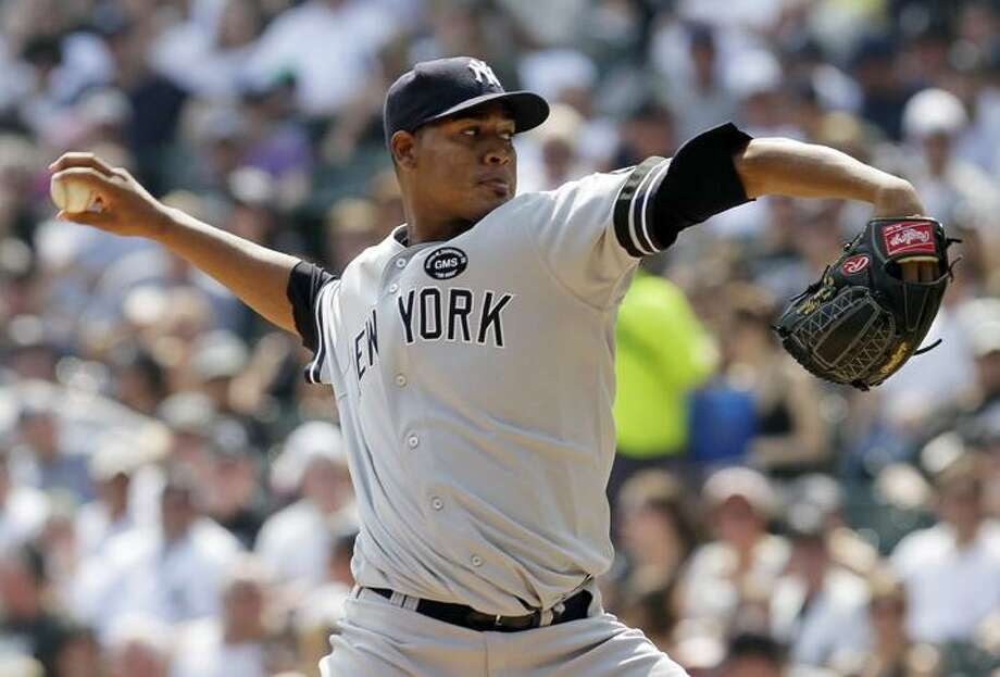 New York Yankees starter Ivan Nova delivers a pitch against the Chicago White Sox during the third inning of a baseball game in Chicago, Sunday. (AP Photo/Nam Y. Huh) Photo: AP / AP