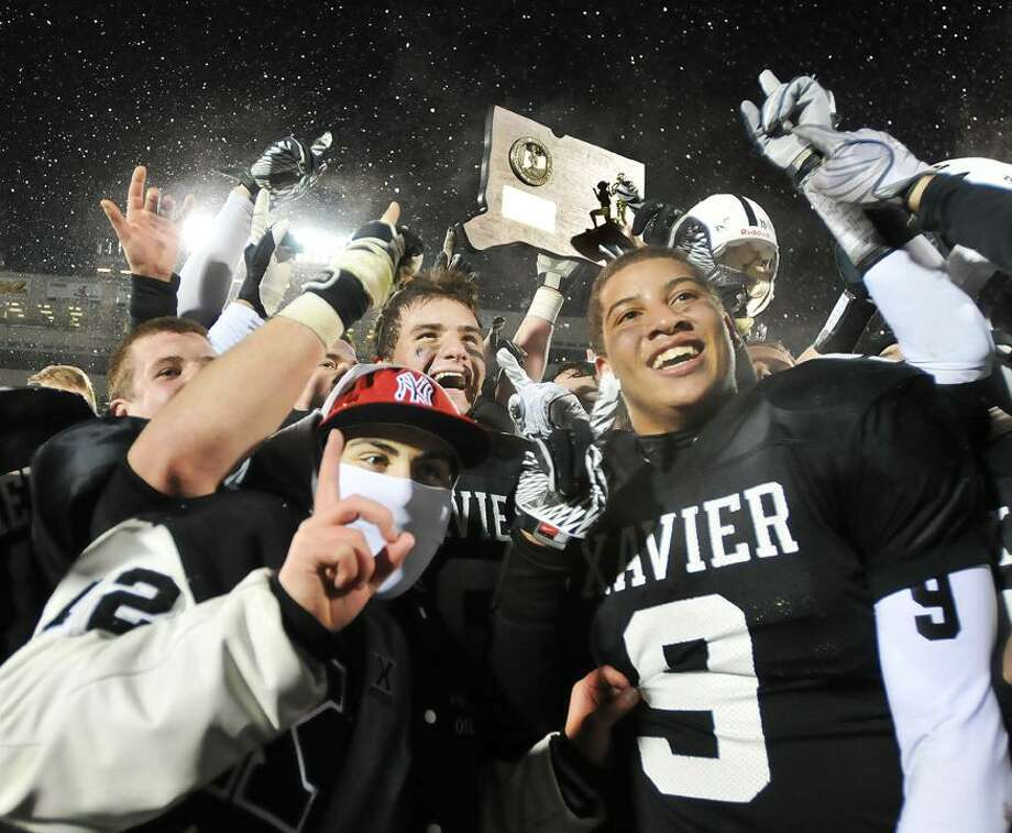The Middletown Press  12.13.10 Xavier is the No. 1 selection in the Register's final football poll for the 2010 season. To buy a glossy print of this photo and more, check out our online photo gallery. / TheMiddletownPress