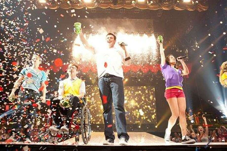 "In this image released by 20th Century Fox, from left, Chord Overstreet, Kevin McHale , Cory Monteith  and Lea Michele are shown in a scene from Glee: The 3D Concert Movie."" (AP Photo/20th Century Fox) Photo: AP / TM and © 2011 Twentieth Century Fox Film Corporation. All rights reserved. Not for sale or duplication."