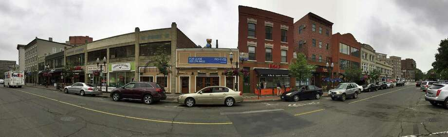 A panoramic view of restaurants, including the vacant space for the former Bobby Valentine's Sports Bar and Restaurant, center, on Main Street in Stamford, Connecticut, on Tuesday, Aug. 15, 2017. Photo: Matthew Brown / Hearst Connecticut Media / Stamford Advocate