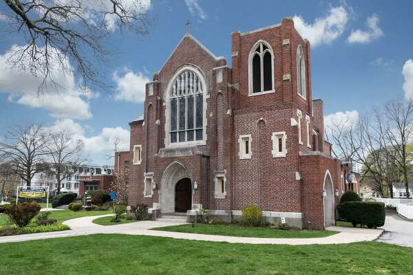 Zion Lutheran Church at 128 Glenbrook Road in Stamford, Conn. is on the market for $3,176,000. The church's congregation plans to sell the building to another religious group or developer who would keep the church intact.