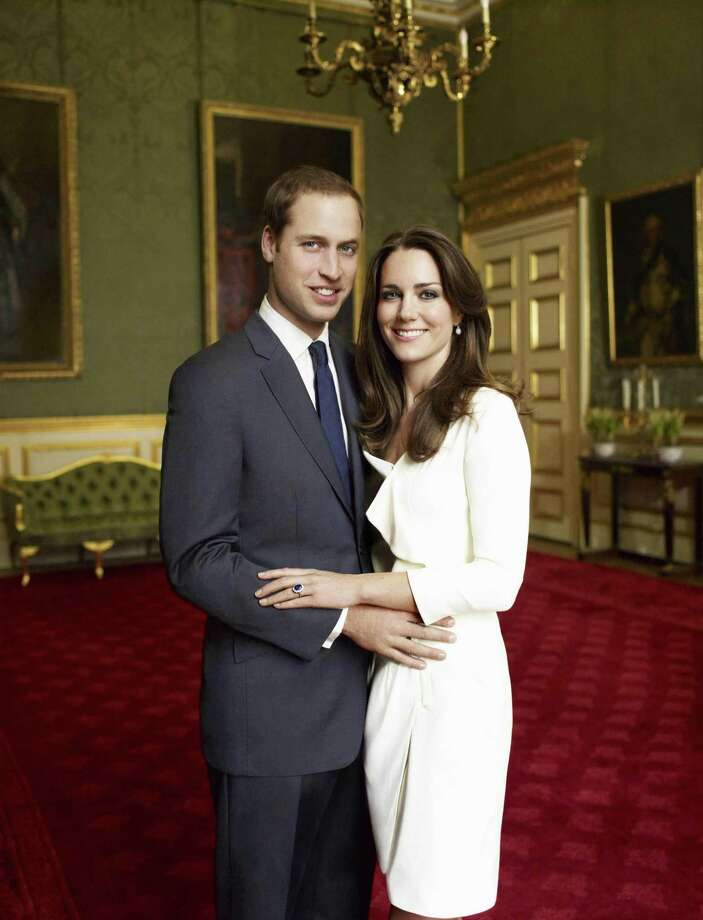 This is one of two official portrait photographs taken on Nov. 25, 2010 in the Council Chamber in the State Apartment in St James's Palace, London and released by Clarence House Press Office on Sunday to mark the engagement of Britain's Prince William, left, and Catherine Middleton, right.  (AP Photo/Clarence House Press Office/Copyright 2010 Mario Testino) Photo: ASSOCIATED PRESS / AP2010