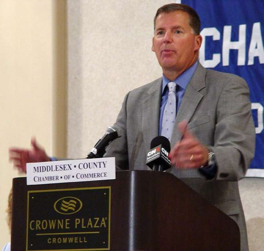UConn football coach Randy Edsall speaks at the Middlesex County Chamber of Commerce Breakfast at Crowne Plaza Hotel in Cromwell this morning. (Sean Connor