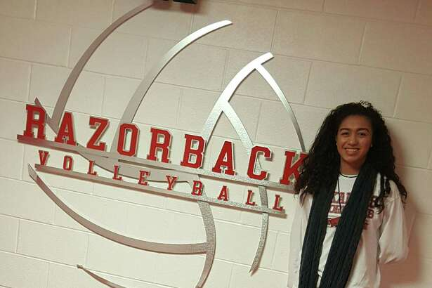 Antonian volleyball player Maylin Garrett, shown in August 2017, has committed to play at Arkansas in the SEC.