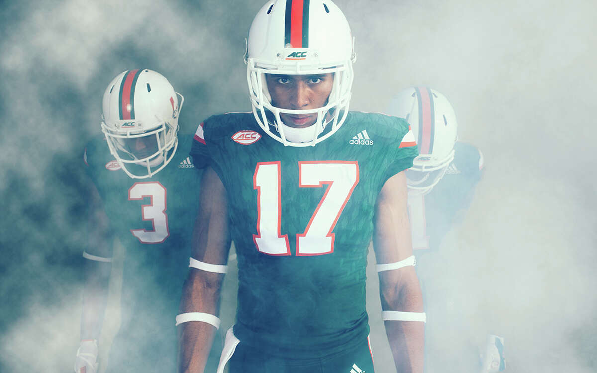 MIAMI The University of Miami and adidas unveiled the Hurricanes' 2017 alternate football uniforms, collaborative designs that add an all-green theme making its on-field debut at Hard Rock Stadium on Sept. 23 vs. Toledo and an all-black look that will be worn on Oct. 12 vs. Georgia Tech.