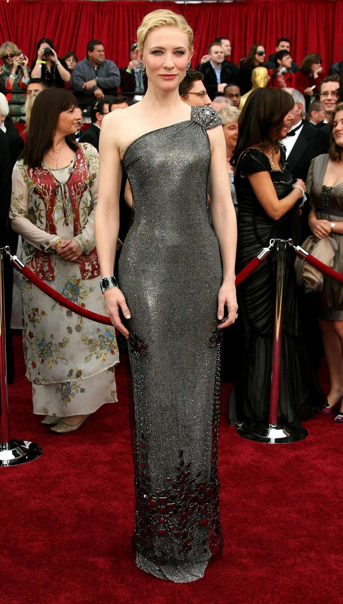 8. ARMANI PRIVÉ: $200,000 Actress Cate Blanchett attends the 79th Annual Academy Award in 2007 and made a splash with this chainmail-esque dress that emulated