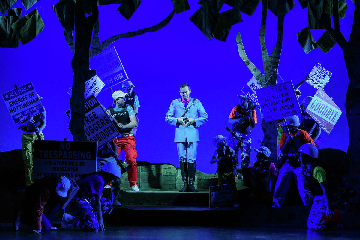 Zachary Owens (center) as Sheriff of Nottingham in The Glimmerglass Festival's world-premiere youth opera,