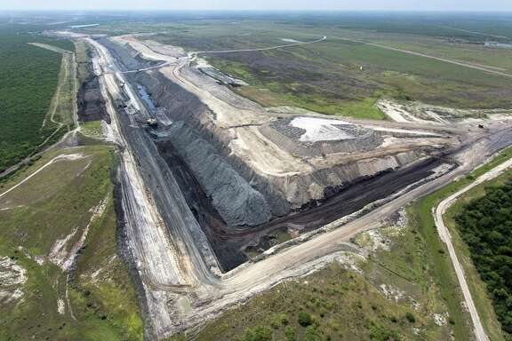 One of the sections of the San Miguel lignite coal strip mine near Campbellton is seen Wednesday, May 17, 2017 in an aerial image.
