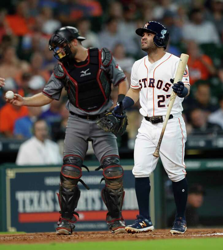 Houston Astros second baseman Jose Altuve (27) reacts after striking out in the fourth inning of an MLB game at Minute Maid Park, Thursday, Aug. 17, 2017, in Houston.