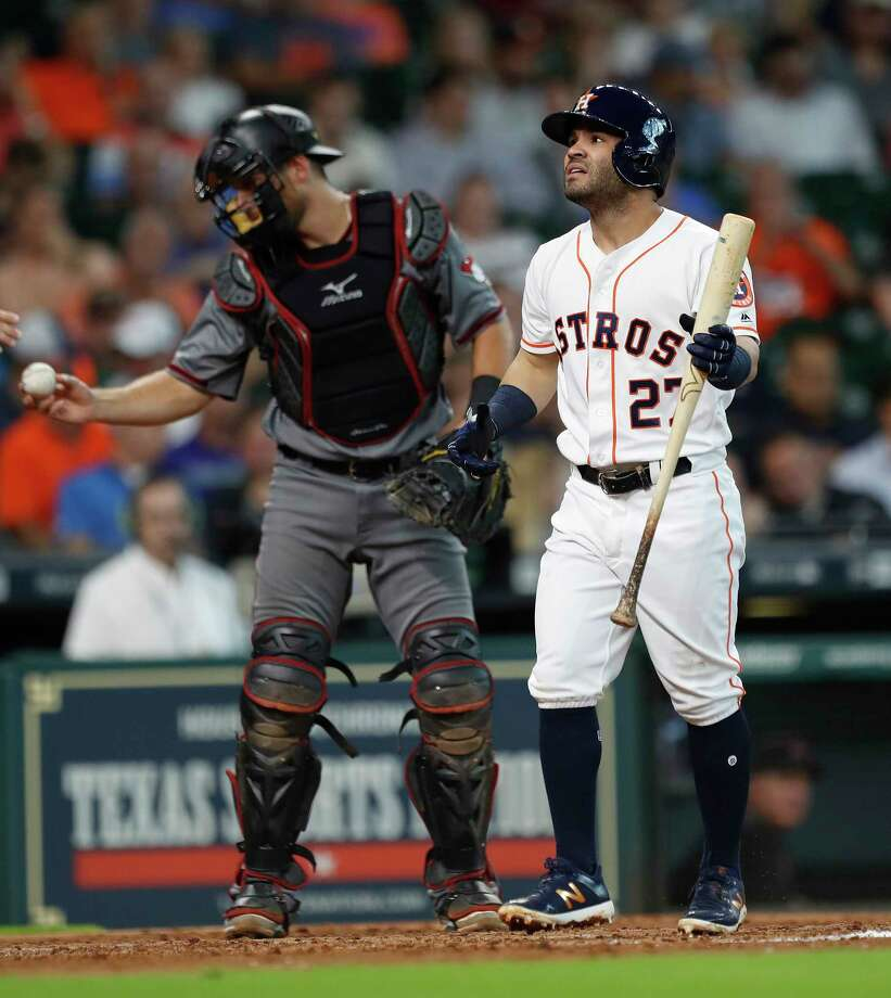 Houston Astros second baseman Jose Altuve (27) reacts after striking out in the fourth inning of an MLB game at Minute Maid Park, Thursday, Aug. 17, 2017, in Houston. Photo: Karen Warren, Houston Chronicle / @ 2017 Houston Chronicle
