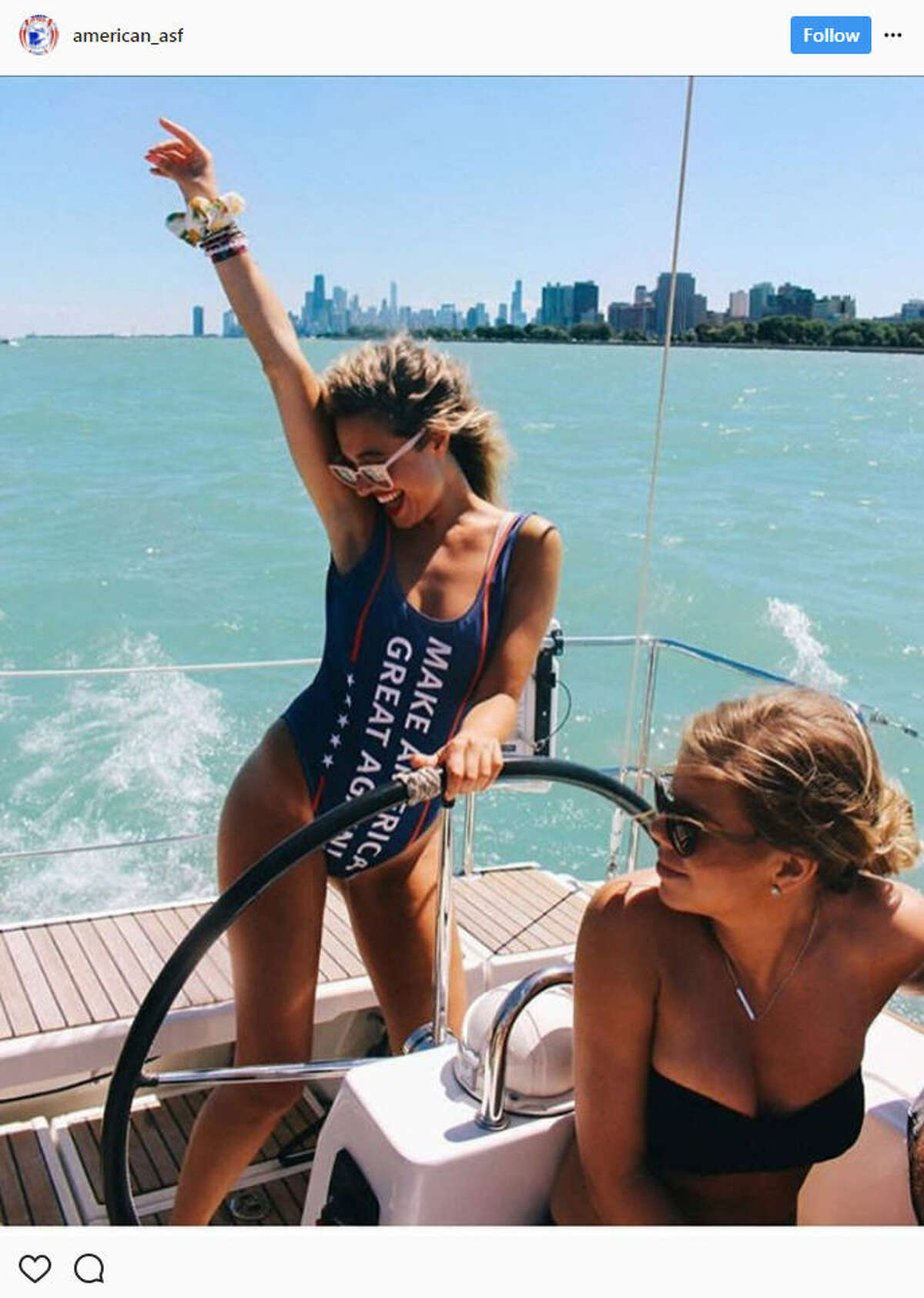 """Dozens of women are sharing photos of themselves boasting """"Make America Great Again"""" swimsuits on social media.Source:Instagram"""