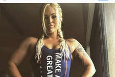 """Dozens of women are sharing photos of themselves boasting """"Make America Great Again"""" swimsuits on social media. Source:  Instagram"""