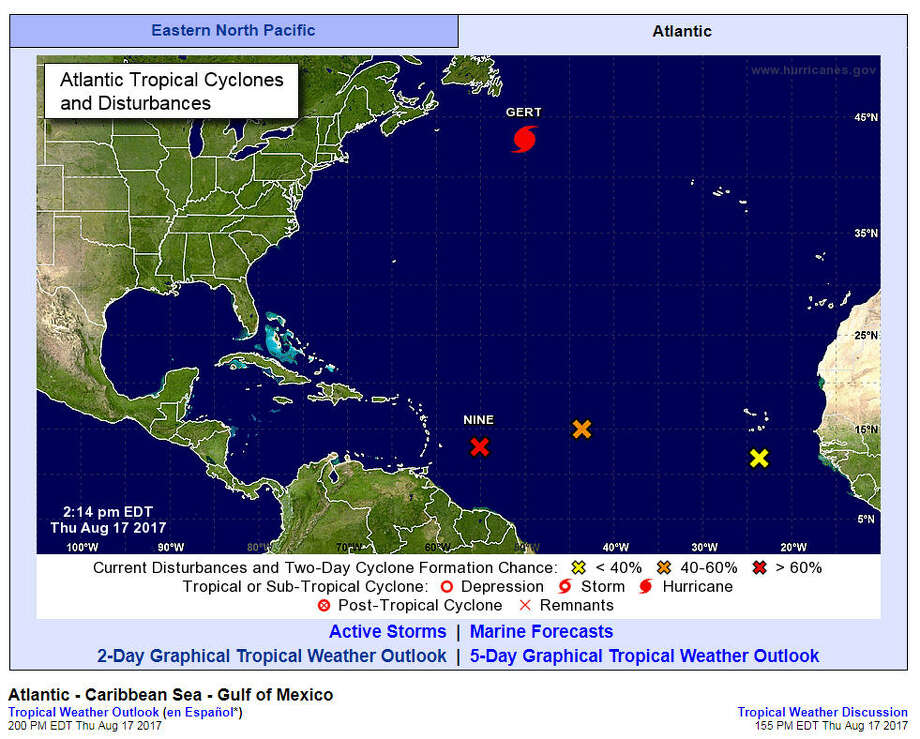 August 17:Experts were keeping their eyes on a few formations in the Atlantic, one of which was Potential Tropical Cyclone 9 (PTC9), which was eventually named Tropical Storm Harvey later that night. Photo: NOAA Screen Shot