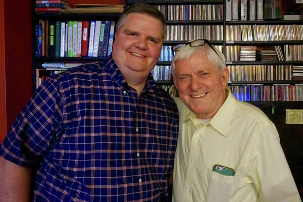 WAMC radio host Joe Donahue, left, with legendary talkshow host Phil Donahue at a New York City studio, where they recorded a three-hour interview that was editied down to fit a 90-minute block airing on WAMC on Friday morning (8/18). (Photo courtesy Joe Donahue)