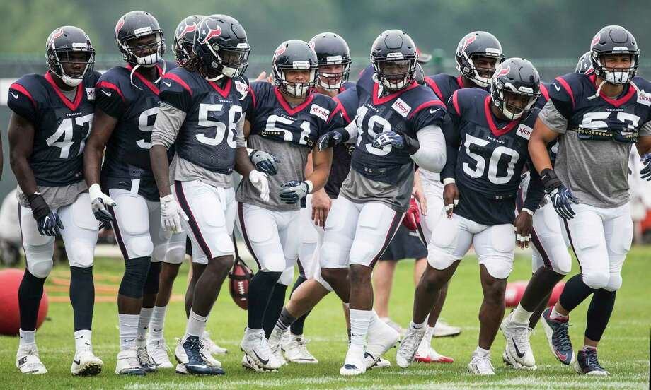 Houston Texans defenders run to their next drill during a joint practice between the Texans and the New England Patriots at training camp at The Greenbrier on Wednesday, Aug. 16,  2017, in White Sulphur Springs, W.Va. ( Brett Coomer / Houston Chronicle ) Photo: Brett Coomer, Staff / © 2017 Houston Chronicle}