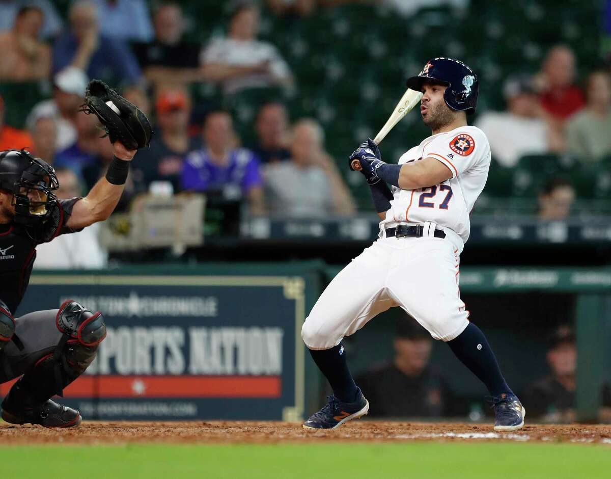 Houston Astros Jose Altuve (27) jumps back from, a pitch inside in the ninth inning of an MLB game at Minute Maid Park, Thursday, Aug. 17, 2017, in Houston.