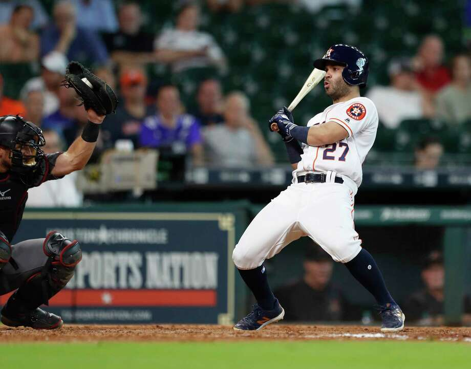 Houston Astros Jose Altuve (27) jumps back from, a pitch inside in the ninth inning of an MLB game at Minute Maid Park, Thursday, Aug. 17, 2017, in Houston. Photo: Karen Warren, Houston Chronicle / @ 2017 Houston Chronicle