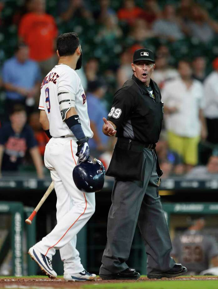 PHOTOS: Astros' reactions after striking out in Thursday's lossHouston Astros Marwin Gonzalez (9) argues with home plate umpire Paul Nauert after striking out to end in the game during an MLB game at Minute Maid Park, Thursday, Aug. 17, 2017, in Houston.Browse through the photos for a look at Astros' reactions after striking out in Thursday's loss. Photo: Karen Warren, Houston Chronicle / @ 2017 Houston Chronicle