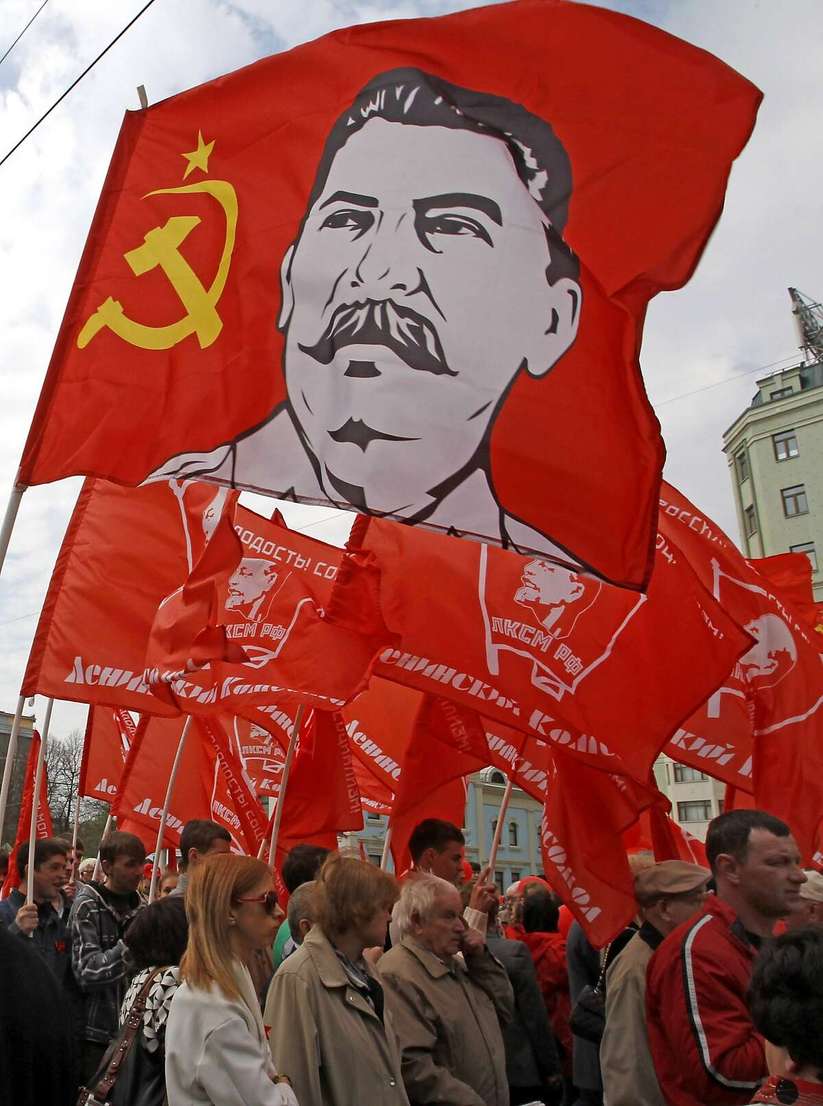 Communist Party backers wave a Stalin flag at Moscow's May Day in 2012.