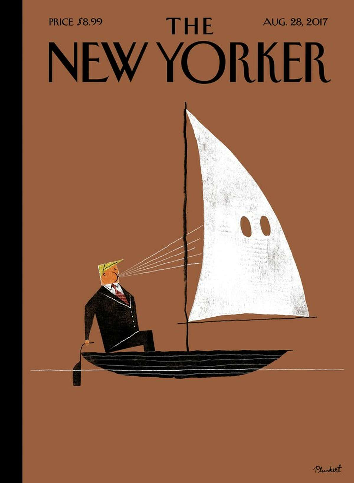 """The illustration, called """"Blowhard,"""" was created by David Plunkert, and features President Donald Trump steering a small sailboat."""