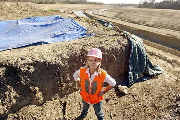 San Antonio City Archeologis Kay Hindes at work Jan. 19, 2012, near Acequia Park.