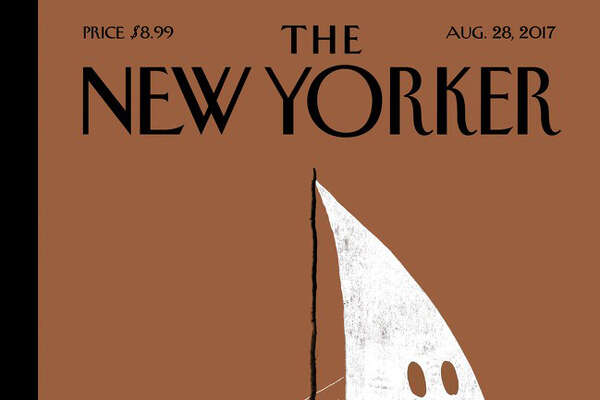 Next week's striking New Yorker cover shows Trump traveling with the KKK.