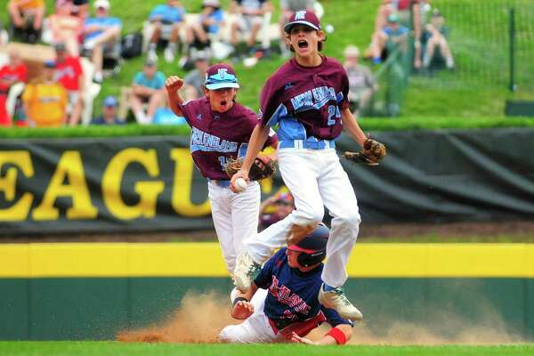 Fairfield American's Michael Iannazzo reacts after getting the out on New Jersey's J.R. Osmond to end the game in Little League World Series action Thursday at Lamade Stadium in South Williamsport, Pa.. Fairfield American won 7-6.
