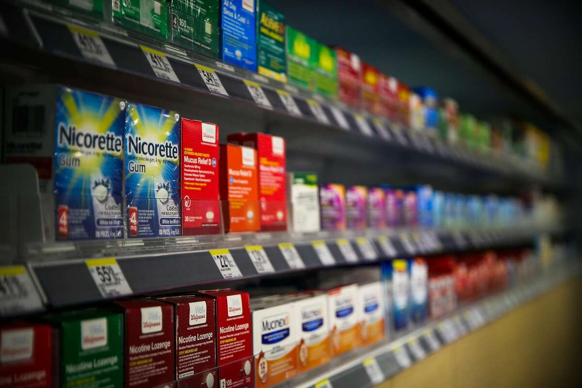 Nicorette gum of is seen for sale at Walgreens at UCSF in San Francisco, Calif., on Thursday, Aug. 17, 2017.