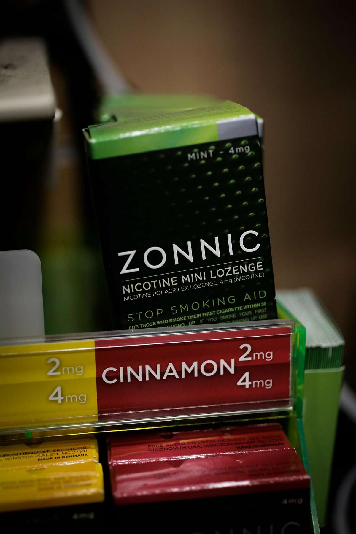 Boxes of Zonnic nicotine lozenges are seen at a 7-Eleven on Mission Street in San Francisco, Calif., on Thursday, Aug. 17, 2017.