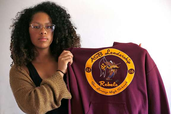 Naliyah Martinez-Truso, 17 years old, was a junior class president in school where she was told to wear the school mascot (confederate soldier) and name whenever attending school events on Thursday, August 17, 2017, in Vallejo, Calif.