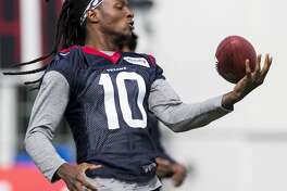 Houston Texans wide receiver DeAndre Hopkins grabs a catch with one hand during training camp at the Greenbrier on Saturday, Aug. 5, 2017, in White Sulphur Springs, W.Va. ( Brett Coomer / Houston Chronicle )