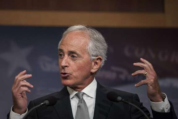Senator Bob Corker, a Republican from Tennessee and chairman of the Senate Foreign Relations Committee, speaks during a press conference in Washington, D.C., U.S., on Thursday, Aug. 3, 2017. The Senate Foreign Relations Committee advanced legislation, named the Taylor Force Act, to cut U.S. financial aid to the West Bank and Gaza until the Palestinian Authority ends payments incentivizing terror attacks. Photographer: Zach Gibson/Bloomberg