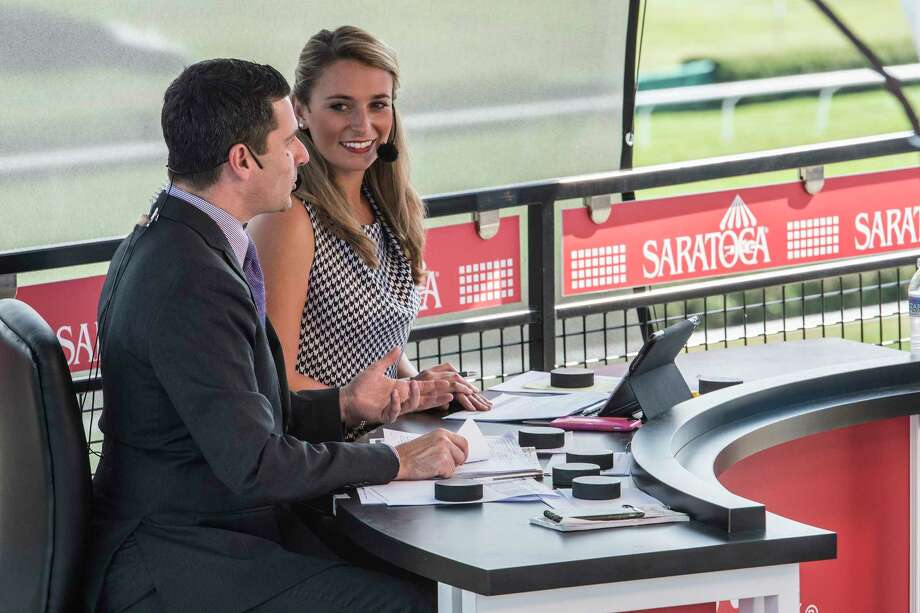 Greg Wolf and Gabby Gaudet appear on the NYRA TV channel at the Saratoga Race Course Monday  Aug. 14, 2017  in Saratoga Springs, N.Y.  (Skip Dickstein/Times Union) Photo: SKIP DICKSTEIN