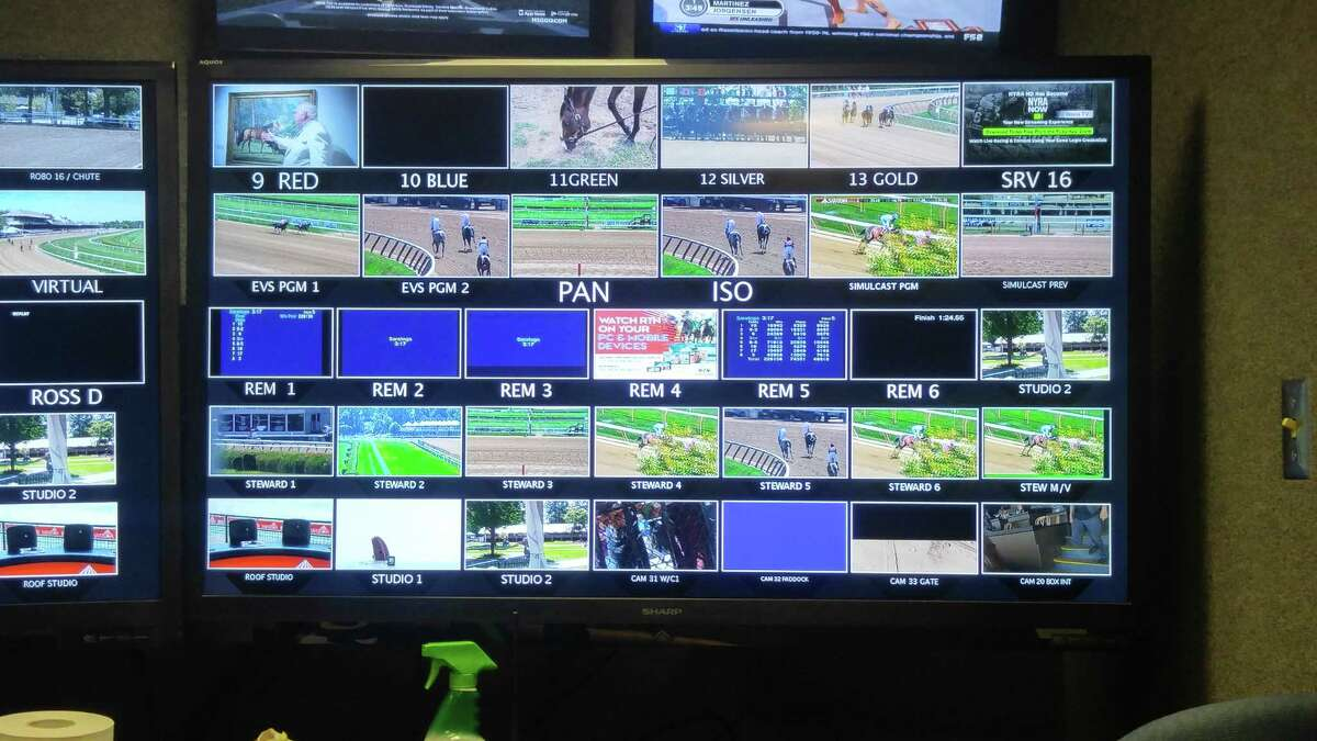 """A look inside the production truck of """"Saratoga Live,"""" which airs all races from Saratoga Race Course. (Pete Dougherty/Times Union)"""
