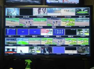 """The third of three banks of monitors on the wall of the """"Saratoga Wall"""" production truck. Photo taken Monday, Aug. 14, 2017. (Pete Dougherty/Times Union)"""