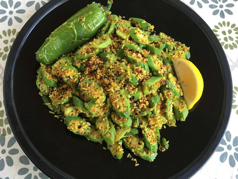 "Crackling okra, adapted from a recipe in ""Deepa's Secrets: Slow Carb / New Indian Cuisine,"" by Deepa Thomas. Photo: Sarah Fritsche"