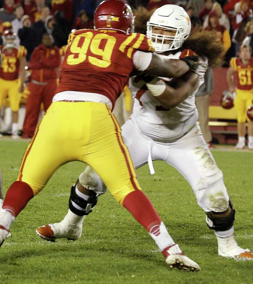UT offensive lineman Patrick Vahe pass protects during the second half against Iowa State at Jack Trice Stadium on Oct. 31, 2015 in Ames, Iowa. Photo: David K. Purdy /Getty Images / 2015 David K Purdy