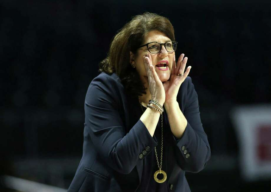 Quinnipiac coach Tricia Fabbri watches the action during her team's victory over Marquette in a first-round game of the NCAA tournament March 18 in Coral Gables, Fla. Photo: Lynne Sladky / Associated Press / Copyright 2017 The Associated Press. All rights reserved.