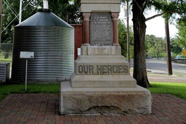 A monument erected commemorating those in the Jaybird Party who died in the Jaybird-Woodpecker War. Photos in downtown Richmond, Texas, on Wednesday, Aug. 16, 2017.