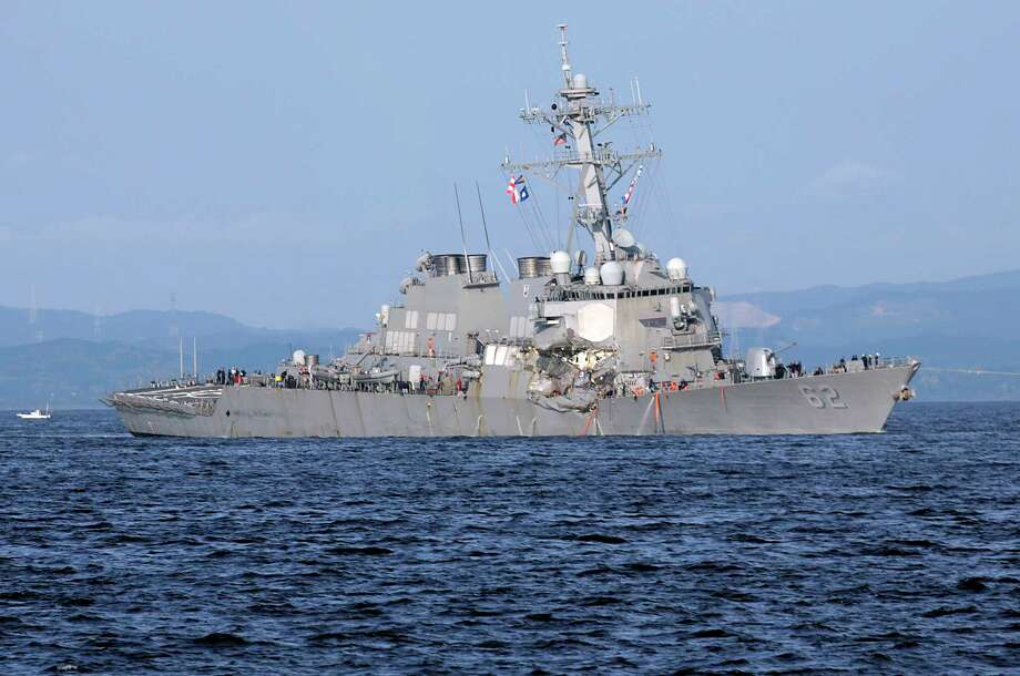 A top Naval commander said he lost confidence in the top three leaders of the USS Fitzgerald after it collided with a container ship, killing seven sailors.  Photo: Eugene Hoshiko, STF / Copyright 2017 The Associated Press. All rights reserved.