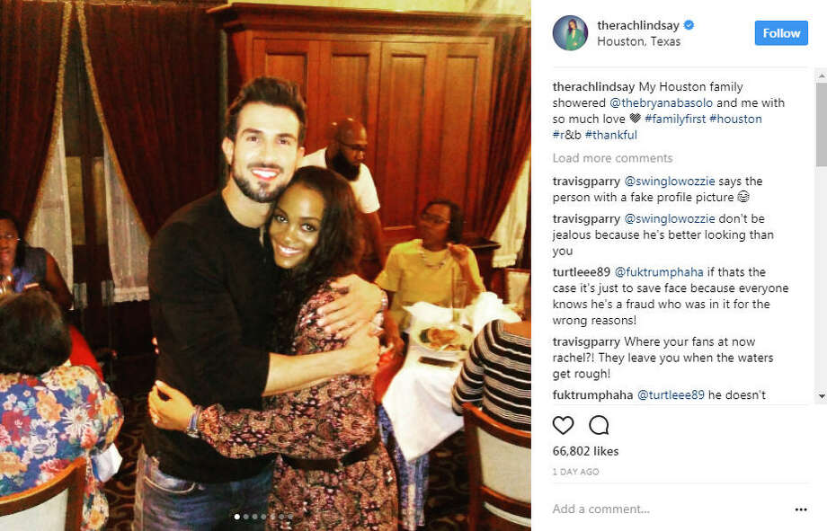 Bachelorette, Rachel Lindsey and fiance, Bryan Abasolo were seen having a good time with some of Lindsay's family members in Houston after celebrating their engagement in Dallas.Photo: Rachel Lindsay Instagram Photo: Instagram