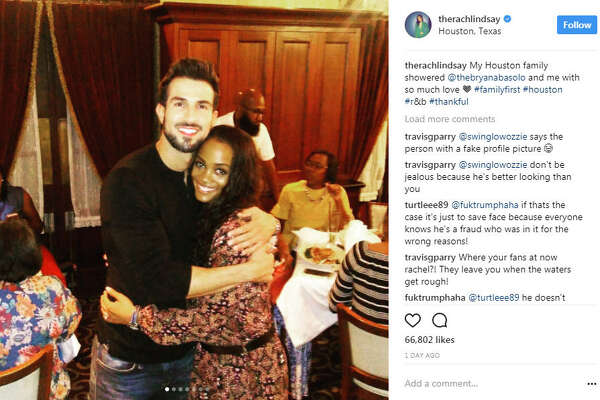 Bachelorette, Rachel Lindsey and fiance, Bryan Abasolo were seen having a good time with some of Lindsay's family members in Houston after celebrating their engagement in Dallas.  Photo:  Rachel Lindsay Instagram